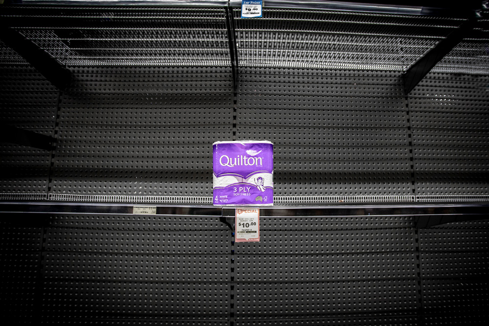 Quilton toilet paper package on supermarket shelf during coronavirus panic buying rush in Australia