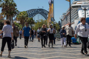 APAC News people at Circular Quay with Sydney Harbour Bridge in background