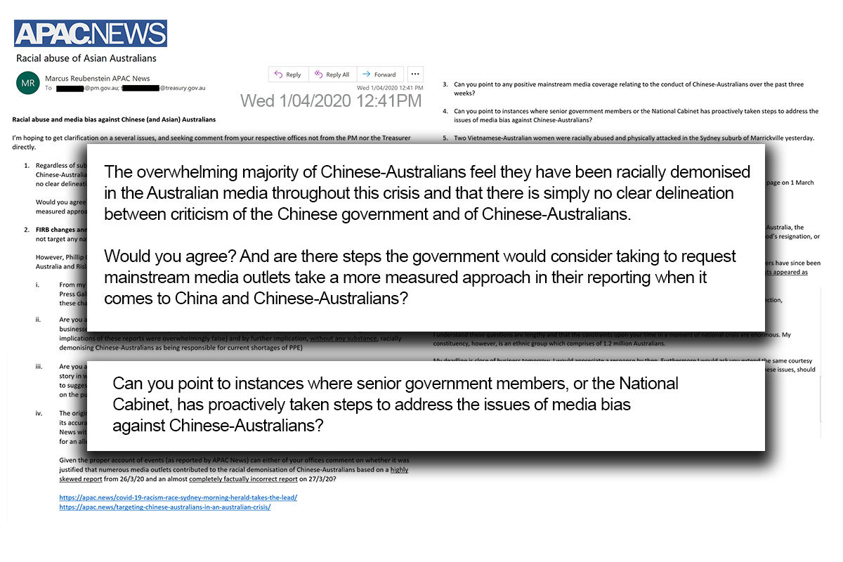 Email from APAC News to PM Media office 1 April 2020